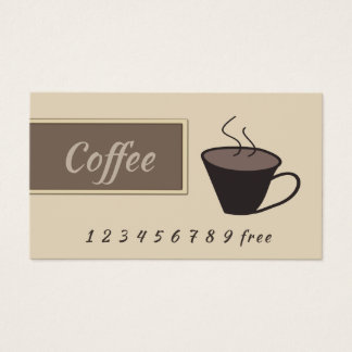 Coffee cup beige  loyalty punch-card business card