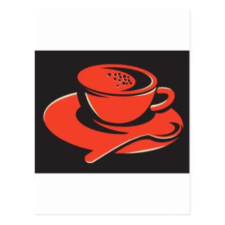 coffee cup bubbles spoon retro postcard