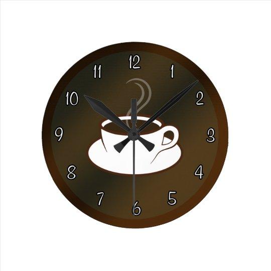 Coffee Cup Cafe Coffee Shop Medium Round Clock Zazzle