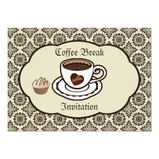 Coffee cup, cake on a damask pattern Party Invite
