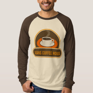 Coffee Cup Coffee Shop Cafe Staff ID Name Raglan Tee Shirt
