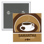 Coffee Cup Coffee Shop Cafe Staff ID Name Tags Button
