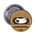 Coffee Cup Coffee Shop Cafe Staff ID Name Tags 2 Inch Round Button