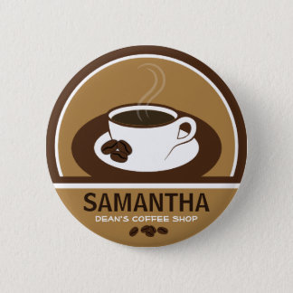 Coffee Cup Coffee Shop Cafe Staff ID Name Tags Pinback Button