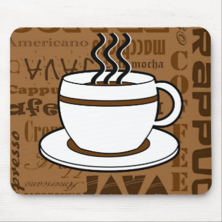Coffee Cup - Coffee Words Print - Brown Mouse Pad