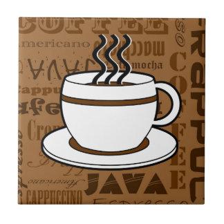 Coffee Cup - Coffee Words Print - Brown Tile