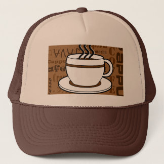 Coffee Cup - Coffee Words Print - Brown Trucker Hat
