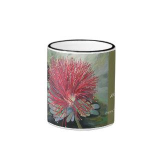 Coffee cup, exotic flower, ringer mug