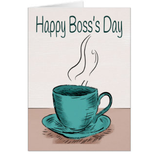 Coffee Cup Illustration for Boss's Day Card
