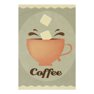 Coffee cup illustration poster