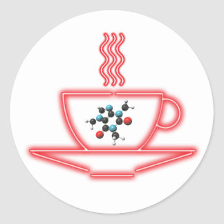 Coffee Cup in Neon with a Caffeine Molecule Classic Round Sticker