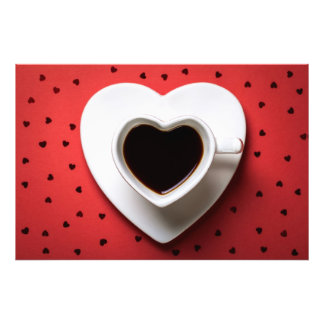 Coffee Cup In Shape Of Heart On Red Paper Photo Print