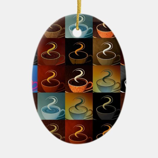 coffee cup montage ceramic ornament
