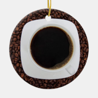 Coffee Cup on a Bed of Coffee Beans Ornament