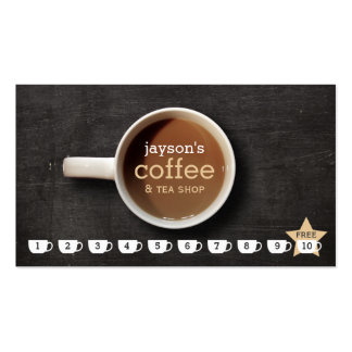 Coffee Cup on Black Wood Coffee Shop Punch Card