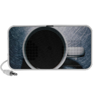 Coffee Cup on Stainless Steel Portable Speakers