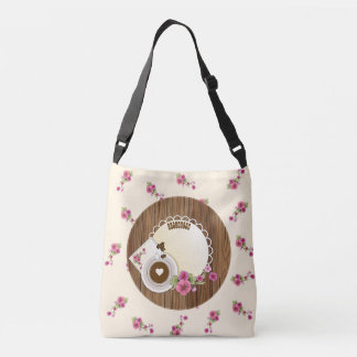 Coffee Cup On Wooden Board With Flower Tote Bag