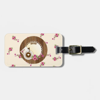 Coffee Cup On Wooden Board With Flowers Bag Tag