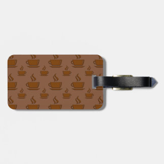 Coffee Cup Pattern Brownish Luggage Tag