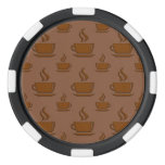 Coffee Cup Pattern Brownish Poker Chip Set