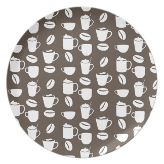 Coffee cup pattern melamine plate