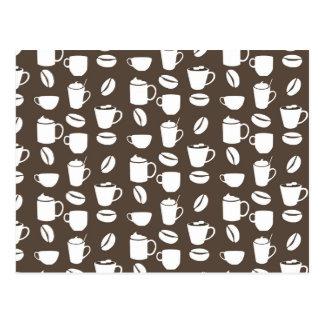 Coffee cup pattern postcard