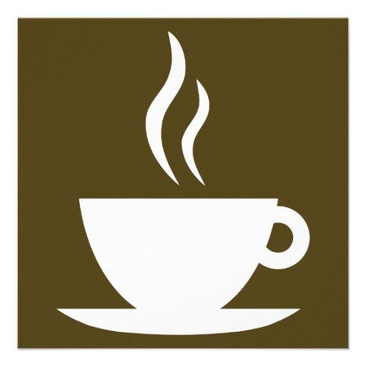 coffee cup silhouette 5.25x5.25 square paper invitation ...