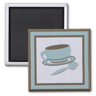 Coffee Cup & Spoon 2 Inch Square Magnet