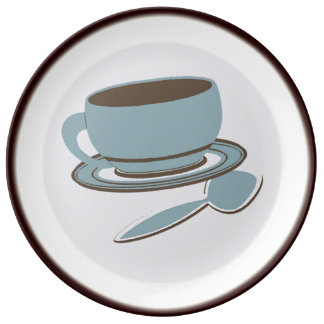 Coffee Cup & Spoon Dinner Plate