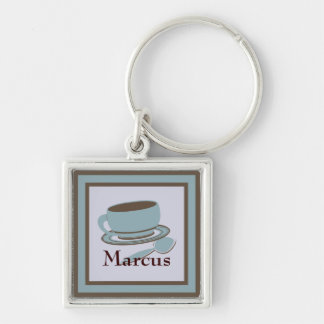 Coffee Cup & Spoon Silver-Colored Square Keychain