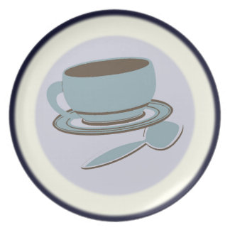 Coffee Cup & Spoon Melamine Plate