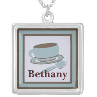 Coffee Cup & Spoon Silver Plated Necklace