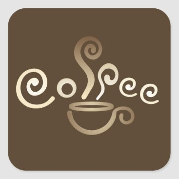 Coffee Themed Coffee cup square sticker
