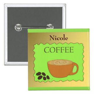 Coffee Cup Staff Name Tag Pinback Button
