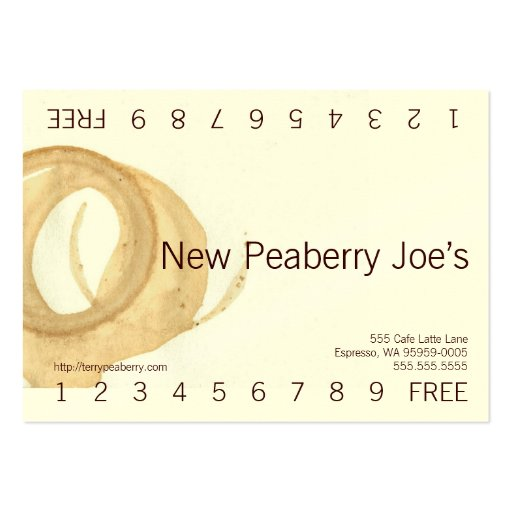 Coffee Cup Stain Loyalty Punch Card Business Cards