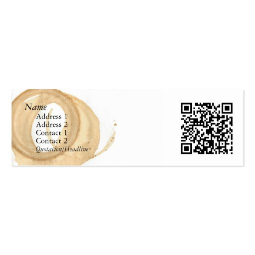 Coffee Cup Stain w/ QR Code Business Card Templates