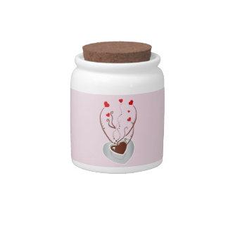 Coffee Cup, Steam, Swirls, Hearts - Pink Red White Candy Jar