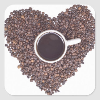 Coffee Cup Surrounded with Coffee Beans Heart Square Sticker