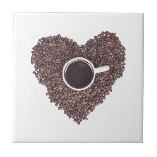 Coffee Cup Surrounded with Coffee Beans Heart Tile