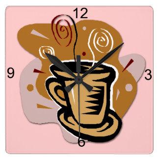 Coffee Cup - Swirl Square Wall Clock