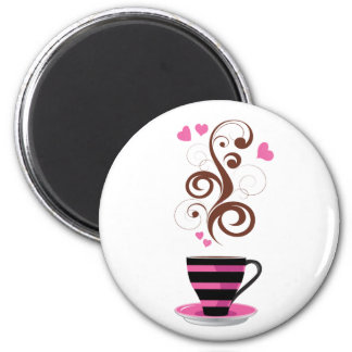 Coffee Cup, Swirls, Hearts - Pink Black Brown 2 Inch Round Magnet
