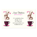 Coffee Cup, Swirls, Hearts - Pink Black Brown Business Card Template