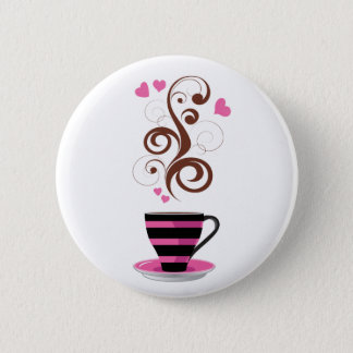 Coffee Cup, Swirls, Hearts - Pink Black Brown Button