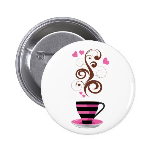 Coffee Cup, Swirls, Hearts - Pink Black Brown Pinback Buttons