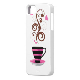 Coffee Cup, Swirls, Hearts - Pink Black Brown iPhone 5 Cover