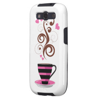Coffee Cup Swirls Hearts - Pink Black Brown Galaxy S3 Cover