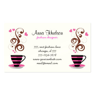 Coffee Cup, Swirls, Hearts - Pink Black Brown Double-Sided Standard Business Cards (Pack Of 100)