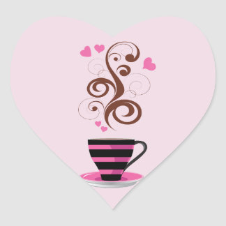 Coffee Cup, Swirls, Hearts - Pink Black Brown Heart Sticker