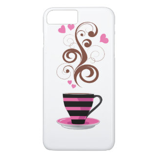 Coffee Cup, Swirls, Hearts - Pink Black Brown iPhone 8 Plus/7 Plus Case