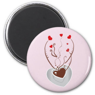 Coffee Cup, Swirls, Hearts - Red White Brown 2 Inch Round Magnet